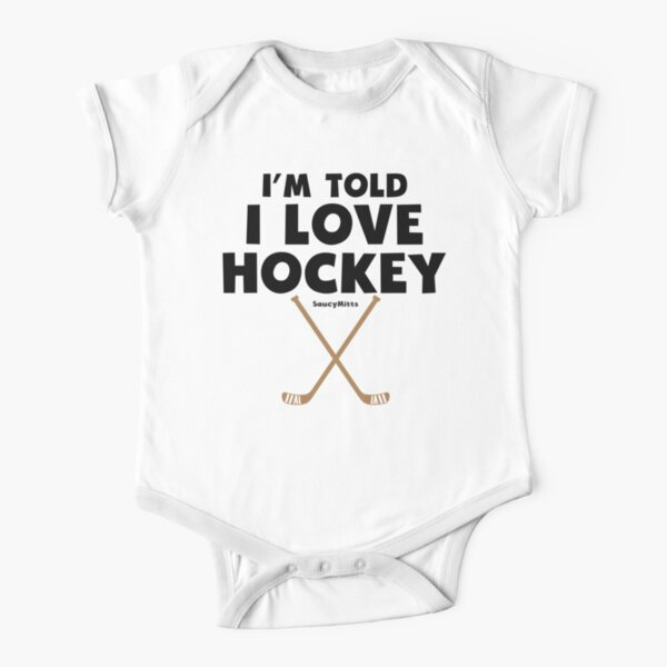 Baby I'm Told I Love Hockey Short Sleeve Baby One-Piece