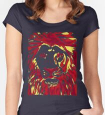 Lovely Lion Stencil (Warm) Women's Fitted Scoop T-Shirt