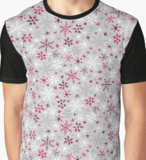 Snowfall - Silver and Cranberry Graphic T-Shirt