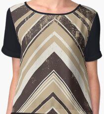 Geometric Geode - Beige/Black Distressed Women's Chiffon Top
