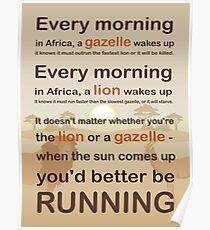 Lion oder Gazelle würden Sie besser volles Zitat ausführen Poster