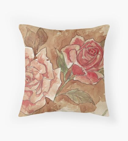 Vintage Coffee Roses Throw Pillow