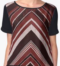Geometric Geode - Red/Black Distressed Women's Chiffon Top