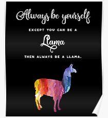 Llama - Rainbow Color, Watercolor Poster
