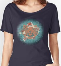 Ornamental Tiger Portrait with roses Women's Relaxed Fit T-Shirt