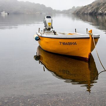 Yellow boat in the mist by Tonywallbank