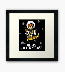 Otter Space Funny Astronaut Galaxy Travel Framed Print