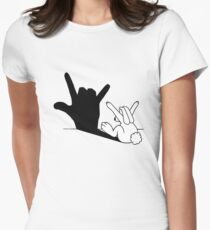 Rabbit Love Hand Shadow Womens Fitted T-Shirt