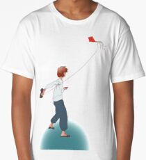 Romantic girl playing with red flying paper kite  Long T-Shirt