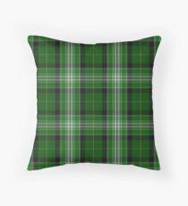 Green and White   Scottish Tartan Throw Pillow