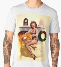 Pin up girl is putting her Christmas gift surprise on her lingerie Men's Premium T-Shirt