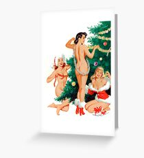 Three sexy pin up girls are decorating Christmas tree Greeting Card
