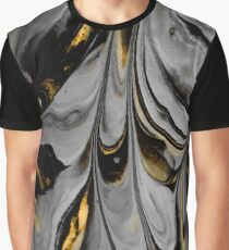 Gray and Gold Marbling Graphic T-Shirt
