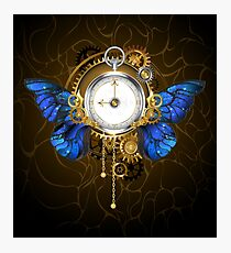 Clock with Blue Butterfly Wings Photographic Print
