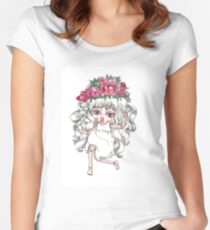 Cute crying doll with peonies flower crown Women's Fitted Scoop T-Shirt