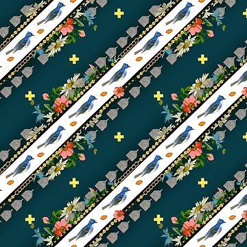 Wallpaper pattern design Bling Birds 1 Edouard Artus by EdouardArtus