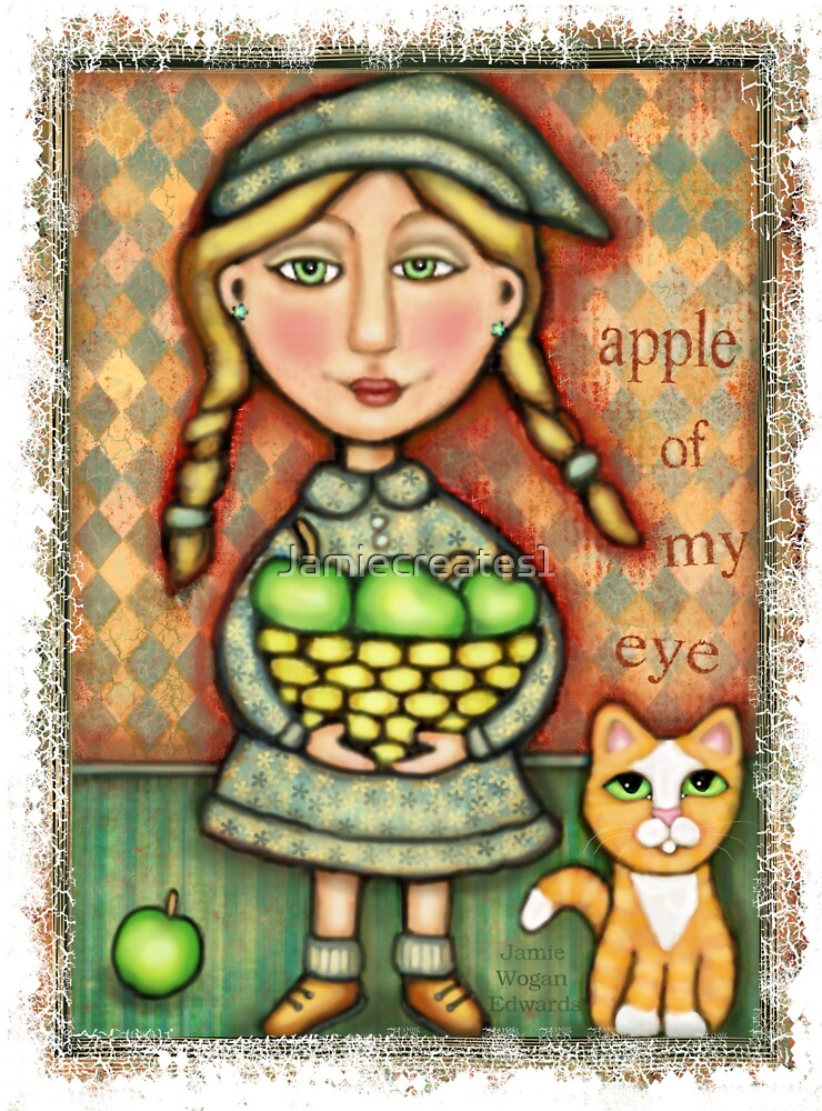 Apple Girl With Tabby Cat by Jamie Wogan Edwards