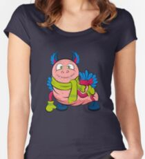 Pink caterpillar monsters with green eyes, wings and cute ears, wearing a scarf and mittens.  Women's Fitted Scoop T-Shirt