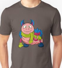 Pink caterpillar monsters with green eyes, wings and cute ears, wearing a scarf and mittens.  T-Shirt