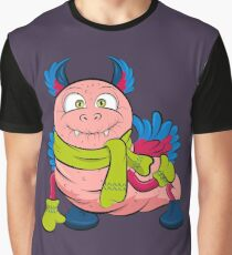 Pink caterpillar monsters with green eyes, wings and cute ears, wearing a scarf and mittens.  Graphic T-Shirt