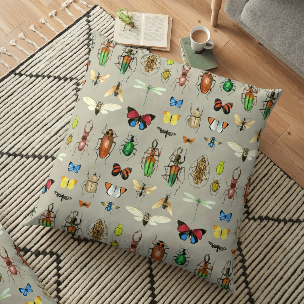 The Usual Suspects - Insects on grey - watercolour bugs pattern by Cecca Designs Floor Pillow