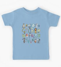Funny colourful animal alphabet - comic - letters - animals - Gift Kids Tee
