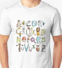 Funny colourful animal alphabet - comic - letters - animals - Gift T-Shirt