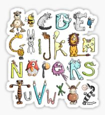 Funny colourful animal alphabet - comic - letters - animals - Gift Sticker