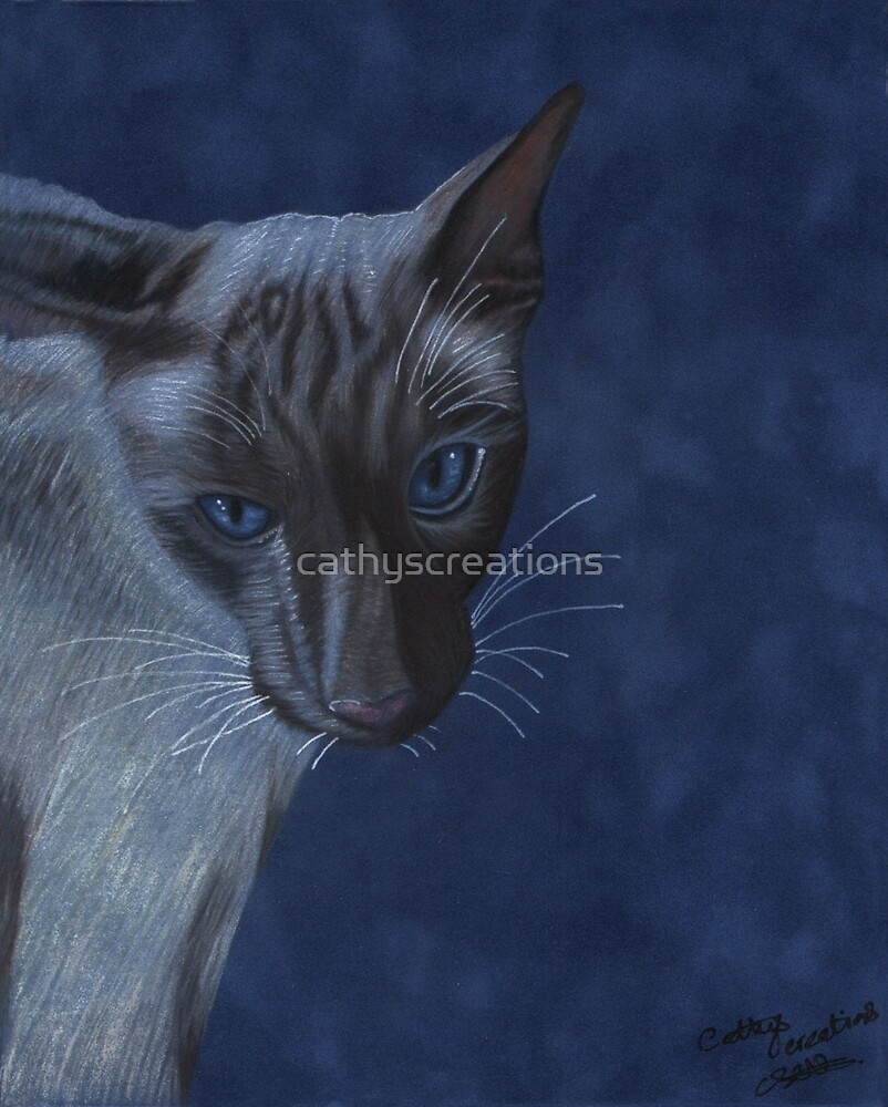 Blue Siamese cat by cathyscreations