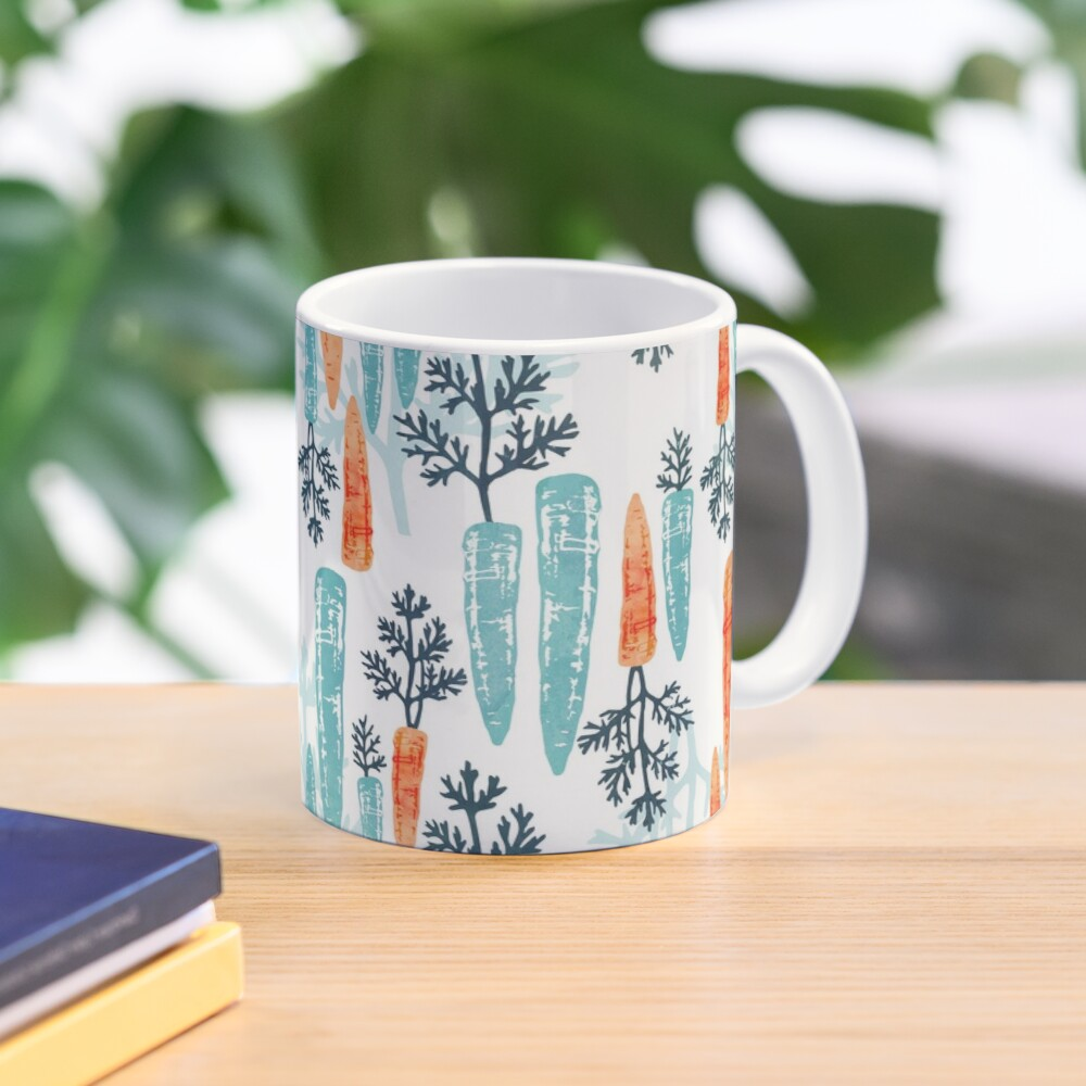 Watercolor carrot repeat on white Mug