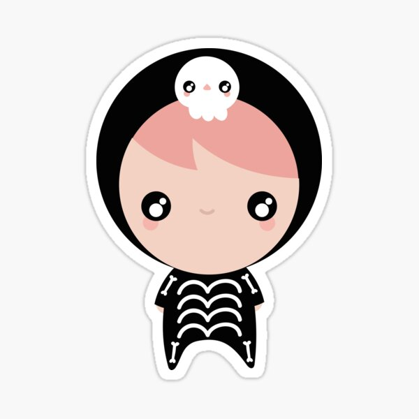 Kawaii skeleton pattern Sticker