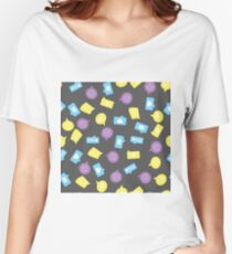 pattern with different chat signs on dark Women's Relaxed Fit T-Shirt