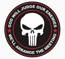 god will judge our enemies we'll arrange the meeting - red   Unisex T-Shirt