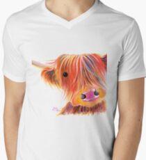 Scottish Highland Cow PRiNT ' SWEET SATSUMA ' by Shirley MacArthur V-Neck T-Shirt