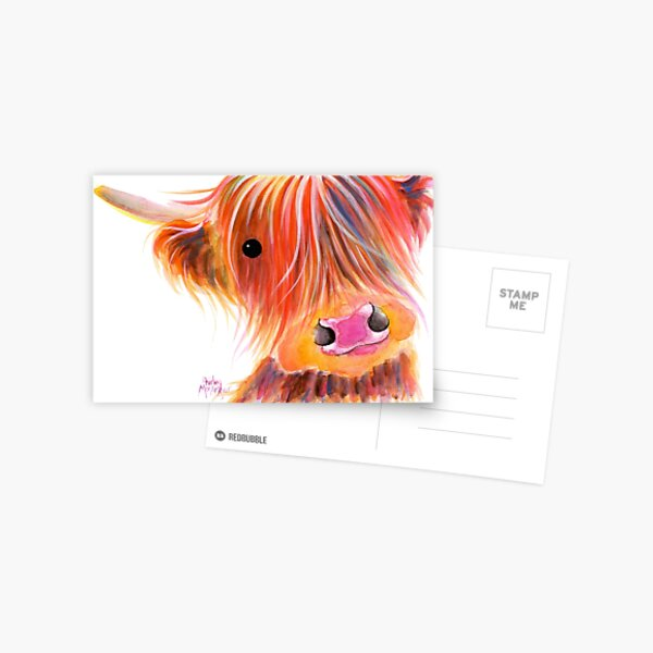Schottische Hochlandkuh PRiNT 'SWEET SATSUMA' von Shirley MacArthur Postkarte