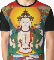 TIBETAN ART : Vintage Buddha Avalokiteshvara Print Graphic T-Shirt