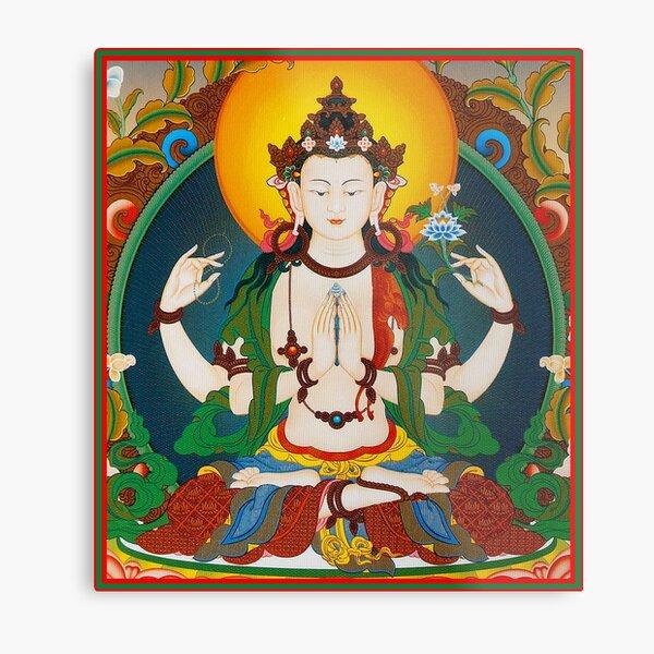 TIBETAN ART : Vintage Buddha Avalokiteshvara Print Metal Print