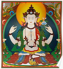 TIBETAN ART : Vintage Buddha Avalokiteshvara Print Poster