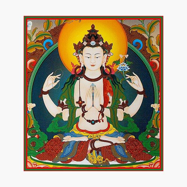 TIBETAN ART : Vintage Buddha Avalokiteshvara Print Photographic Print