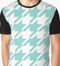 Middle Blue Green Houndstooth Pattern Graphic T-Shirt