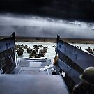 Men of the 16th Infantry Regiment, U.S. 1st Infantry Division wade ashore on Omaha Beach on the morning of 6 June 1944 #DDay by Marina Amaral