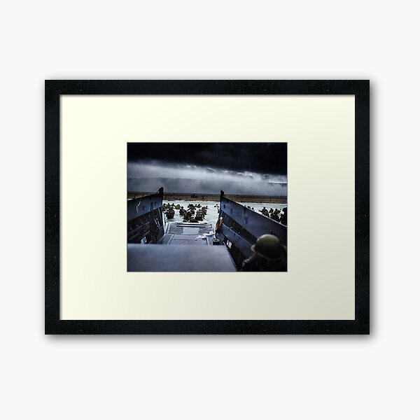 Men of the 16th Infantry Regiment, U.S. 1st Infantry Division wade ashore on Omaha Beach on the morning of 6 June 1944 #DDay Framed Art Print