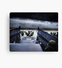 Men of the 16th Infantry Regiment, U.S. 1st Infantry Division wade ashore on Omaha Beach on the morning of 6 June 1944 #DDay Canvas Print