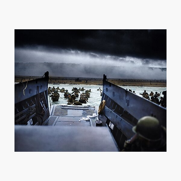 Men of the 16th Infantry Regiment, U.S. 1st Infantry Division wade ashore on Omaha Beach on the morning of 6 June 1944 #DDay Photographic Print