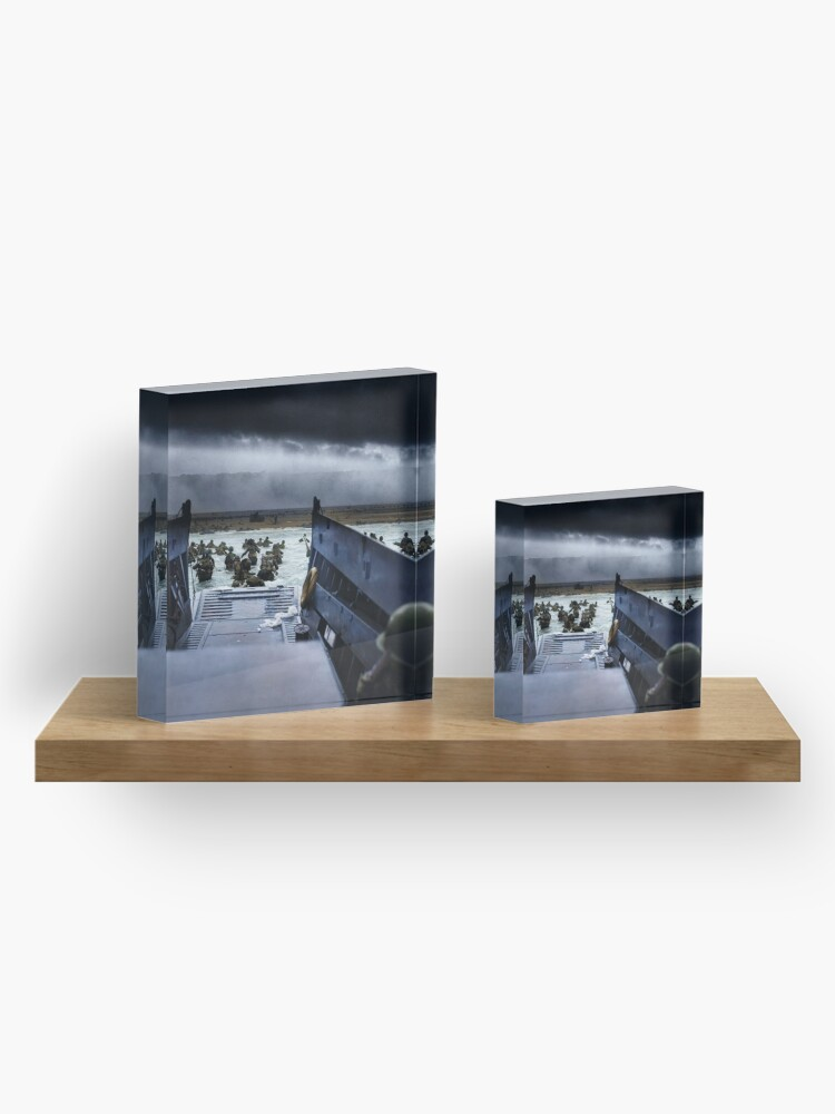 Alternate view of Men of the 16th Infantry Regiment, U.S. 1st Infantry Division wade ashore on Omaha Beach on the morning of 6 June 1944 #DDay Acrylic Block