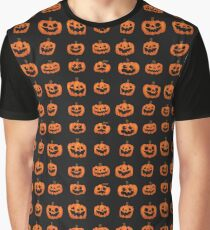 Pumpkin Pattern on Dark Grey Graphic T-Shirt