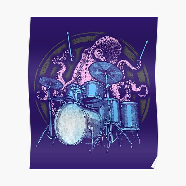 Octopus Drummer Drum Kit Gift T-shirt Póster