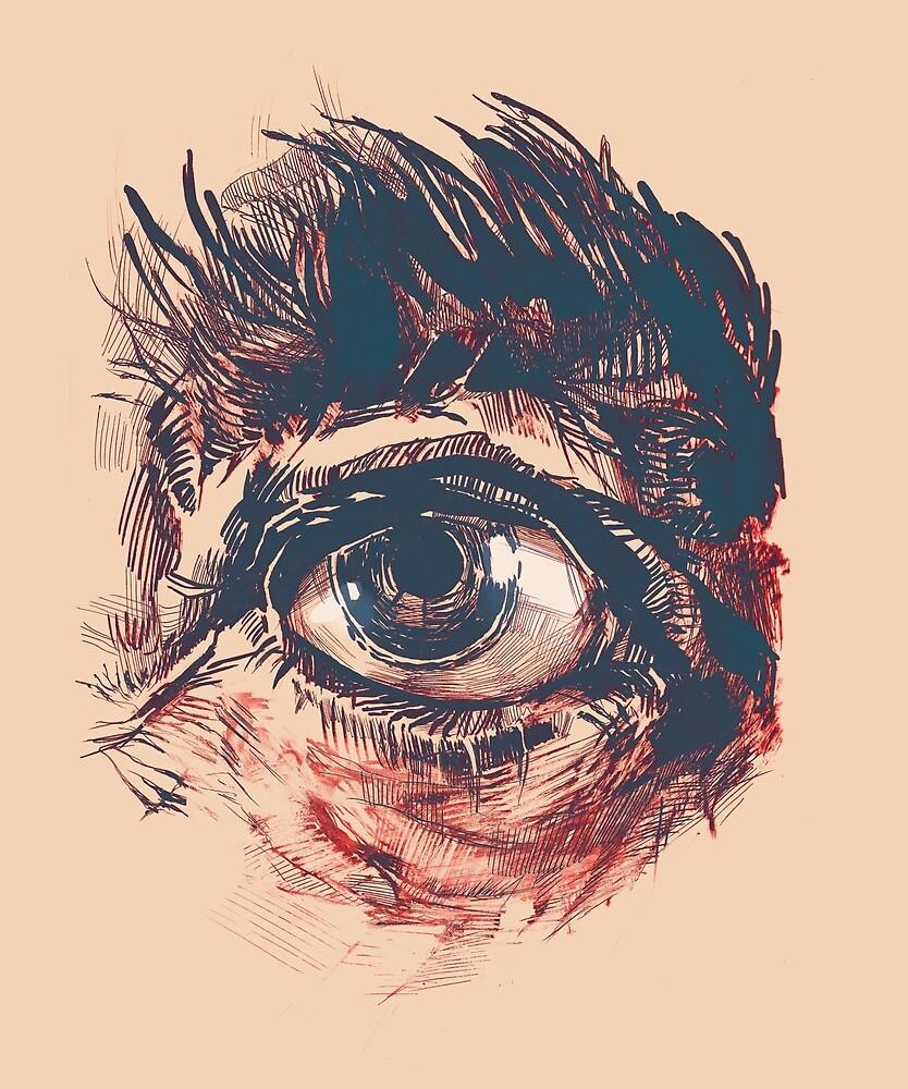 Hairy eyeball is watching you - Rötlich von Daniela  Illing