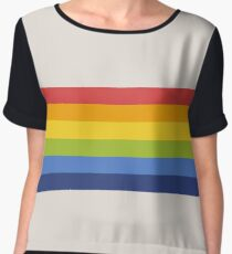 Retro Rainbow Stripe Women's Chiffon Top