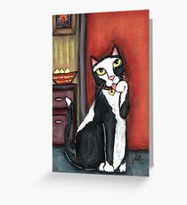 Tux Cat Cleaning Greeting Card